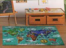 Anti Slip Children's World Rug Nursery Kids Bedroom Play Educational 100x138cm