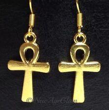 ANKH Yellow Gold_Charm Earrings_Egyptian Eternal Life Nile Gods Symbol Luck_E111