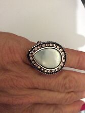 "$74 Brighton Ring ""Raindrops"" Mother of Pearl w/ Pink Swarovski Crystal BBB 506"