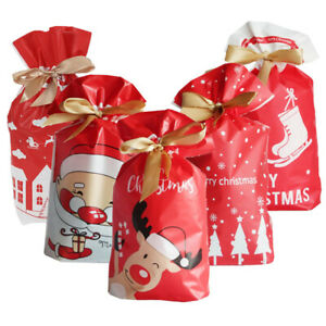 50pcs Christmas Drawstring Bags Party Favour Cookies Sweet Candy Gift Packing UK