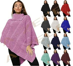 Women's Cable Knitted Poncho Winter 3 Button Ladies Wrap Shawl Jumper Sizes 8-16