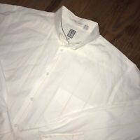 YSL Yves Saint Laurent Menswear White Striped Dress Shirt Mens Size Large
