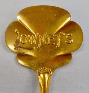 Lowneys Vintage Decorative Souvenir Bon Bon Nut Shell Sugar Spoon Gold Plate (O)