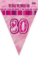 Glitz Pink Silver 80th Birthday Party Decorations Bunting Flag Banner 3.6m 55357