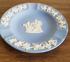 Vintage Wedgewood Jasper Ware Blue Ceramic Ashtray. Angel Holding Head Image