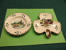 2 pieces Carrigaline Pottery Cork Ireland  Shamrock plate and ashtray