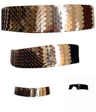 Ladies Belt Waist Cinch Womens Fashion Elastic Black Gold Belts One Size 10 - 18