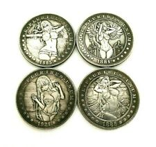 HOBO-NICKELS SOUVENIR DOLLARS 1881,1885,1921 / USA / SET OF SILVERED COINS 4 PCs