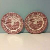 "Vintage British Anchor Red White 2 Plates 9"" Ironstone Olde Country Castles"