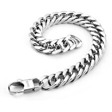 """MENDINO Men's Stainless Steel Bracelet Curb Chain Clasp Bangle Silver 8.5"""" 12mm"""