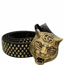 GUCCI Feline Head Studded Leather Belt Black 451224