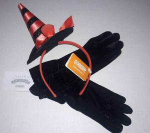 Gymboree Lot Black Dressy Party Gloves M 7/8 & Halloween Witch Hat Headband NWT