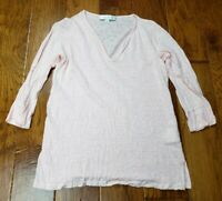 Amour Vert Linen Shirt T-Shirt Top Blouse Light Pink Women's Size XS