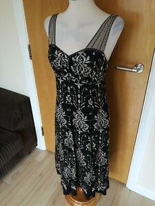 Ladies PRINCIPLES Dress Size 12 Black Grey Silk Beaded Party Evening Deco SILK