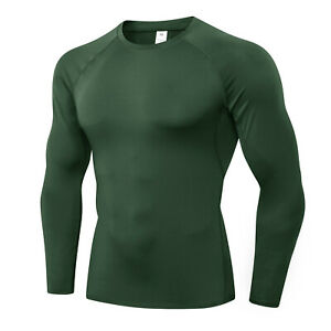 Men Long Sleeve T Shirt Compression Baselayer Cool Dry Sport Top Workout Fitness