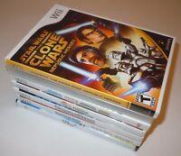 Nintendo Wii 7 Game LOT Star Wars Clone Trauma Center Tak Marvel SPRay RockBand