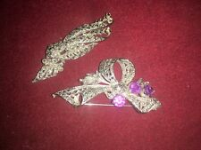 2 Vintage Marcasite Brooches One Of Bow Form With Purple Stones,Stylised Leaves