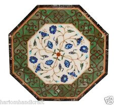 """24"""" White Marble Coffee Table Top Mosaic Floral Inlay Art Patio Furniture H1582"""