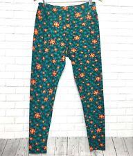 NEW LuLaRoe Leggings Green with Orange Flowers Tall & Curvy (TC)