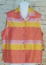 NWT Uniform John Paul Richard Silk Dupioni Blouse Peach Pink Coral Yellow L