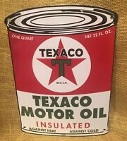1956 VINTAGE STYLE TEXACO MOTOR OIL CAN PORCELAIN SIGN 11X8 INCH USA