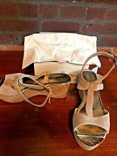 Jimmy Choo Prudence Cork Platform Beige Suede Sandals Size 39 1/2