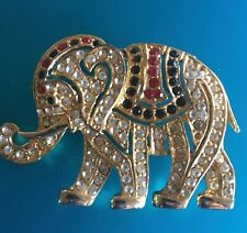 vintage Elephant gold toned Brooch with multicolored Stones