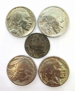 Lot 5 Pièces (4pieces 5 Centimes 1927,1936x2,1920 Et 1 Dime Argent 1910).AD4596