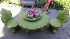 Fairy garden table and chairs/ bistro includes minature teaset accessories
