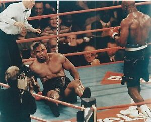 EVANDER HOLYFIELD FLOORS MIKE TYSON 8X10 PHOTO BOXING PICTURE