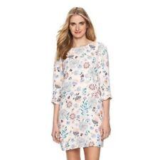 LC Lauren Conrad Womens cream Shift Dress Floral 3/4 Sleeve Summer Sz XS NWT