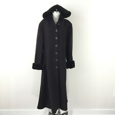 Donnybrook L XL Dark brown Wool Long Faux Fur Coat Hood Warm Winter EUC