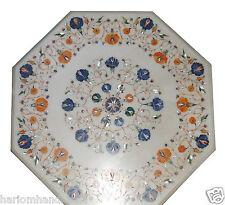 "24"" Marble CoffeeTable Top Inlay Lapis Hakkik Marquetry Work Garden Decor H890"