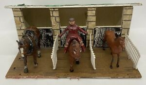 1950's Britains Timpo Hollow Cast Lead Horse Figures Rider And Handmade Stables