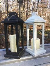 Distressed Rustic Tall White Black Wooden Home Decor Candle Holder Lantern