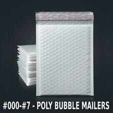000 7 Poly Bubble Mailers Shipping Mailing Padded Bags Envelopes White