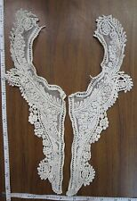 Fabric Applique, VNeck, Neckline motif trimming sew on craft, Beige Crochet 1pc