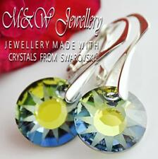 925 SILVER EARRINGS CRYSTALS FROM SWAROVSKI® 12MM SUN - SAHARA PARTLY FROSTED