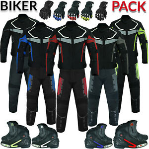 Men's Motorbike Motorcycle Suit Cordura Jacket Trouser Gloves And Leather Shoes