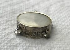 Unique 1882-1935 English Sterling Silver Moving Mother Of Pearl Tambourine Charm