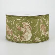 "Woodland Animals Moss & Brown Ribbon 2.5"" x 10 yards"