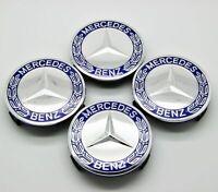4x Wheel Emblem Hub Center Cap Badge Logo 75mm For Mercedes Benz 1714000125 Blue