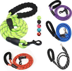 1pcs Dog Lead Leash Strong Pet Rope Reflective Nylon Thread Night Safe 5ft Long