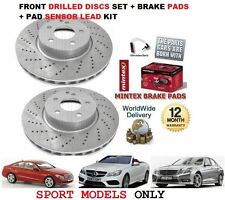 FOR MERCEDES E CLASS E250 SPORT 2009-> FRONT DRILLED BRAKE DISCS SET + PADS KIT
