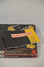 Meccano Set 4 Complete Vintage Blue/Yellow 1970's. Manuals 2-4, 275 Parts