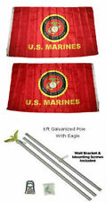 3x5 U.S. Usmc Marines Marine Corps 2ply Flag Galvanized Pole Kit Top 3'x5'