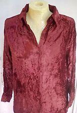 Dark Red long Sleeved Velvet Collared Shirt top Size 10 12 14 16 Boho Hippy Folk