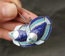 Vintage Japanese Sterling Silver Large Blue White Enamel Angel Fish Earrings