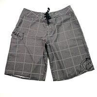 Quicksilver Men's Sz 30 Black White Drawstring Pockets Board Shorts Boardies