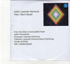 (FB702) Lavender Diamond, I Don't Recall - 2013 DJ CD